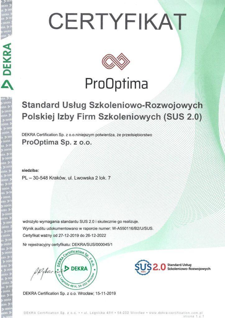ProOptima realizuje dotowane szkolenia dzięki certyfikatowi SUS 2.0